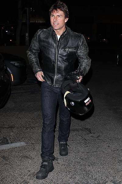 Tom Cruise takes the motorcycle out for a spin