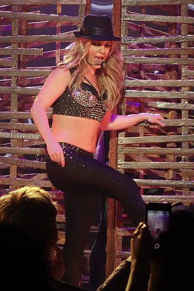Britney Spears performs with her dancers on stage in Las Vegas