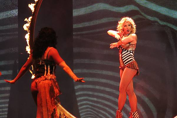 """Britney Spears shows off her many costumes as she performs live at the Britney Spears """"Piece of Me"""" residency concert at Planet Hollywood in Las Vegas, NV"""