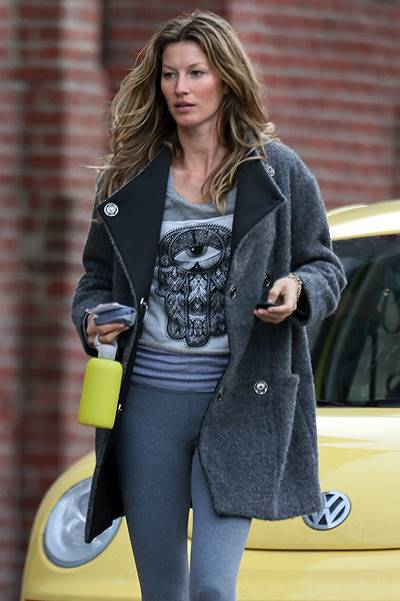 Gisele Bundchen leaves a Boston gym after an early morning workout with her sister Patricia