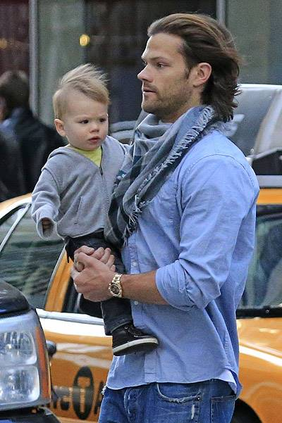 EXCLUSIVE: Jared Padalecki throws and catches son Thomas up in the air in New York City