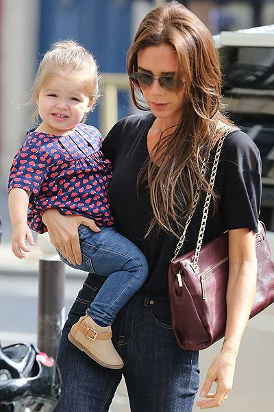 Victoria Beckham & Daughter Harper Shopping In Paris