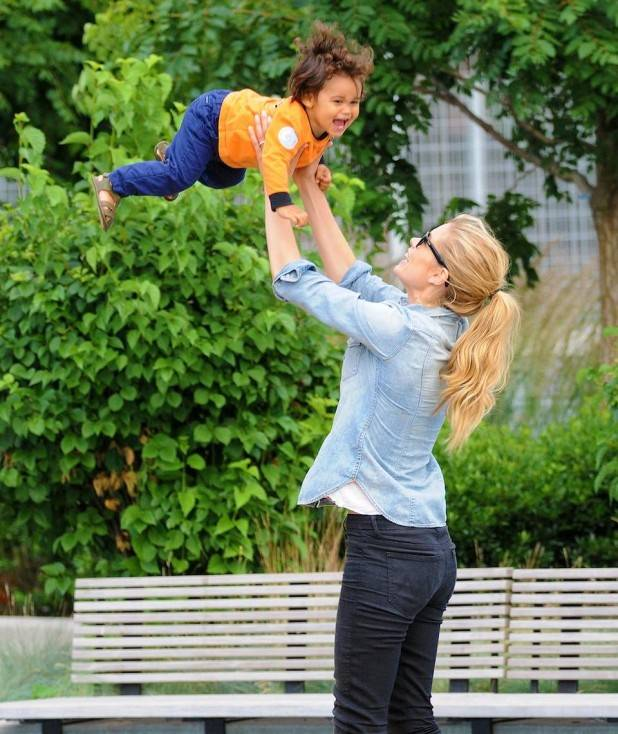 Doutzen Kroes takes her cute son Phyllon Joy Gorr�© to the playground in NYC