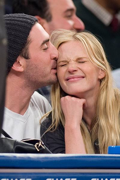 Anne V (Anne Vyalitsyna) and boyfriend, New York Mets pitcher Matt Harvey sit court side for the New York Knicks game against the Washington Wizards