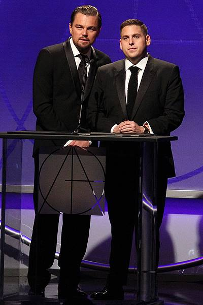 18th Annual Art Directors Guild Excellence In Production Design Awards_Show At The Beverly Hilton Hotel Featuring: Leonardo DiCaprio,Jonah Hill Where: Beverly Hills, California, United States When: 09 Feb 2014 Credit: FayesVision/WENN.com