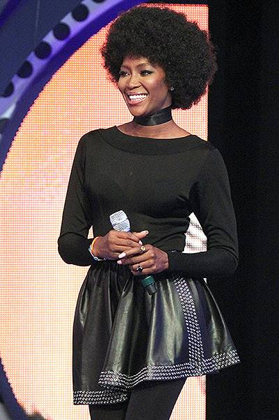 Naomi Campbell shows off her Afro for 106 and Park