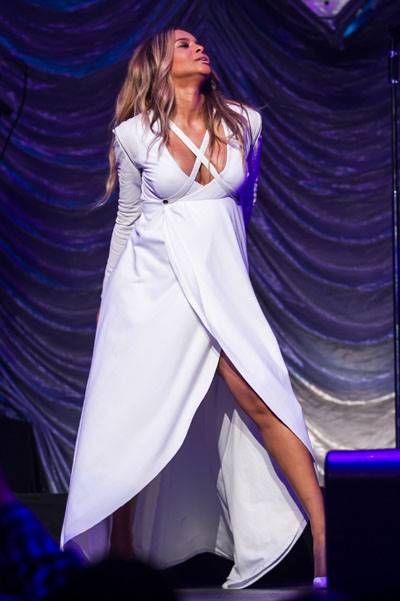 A very pregnant Ciara rocks the stage at Power 106's 'Valentine's Crush' in Los Angeles
