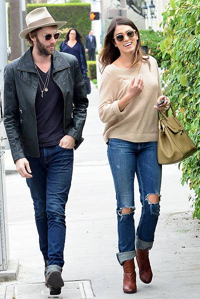 EXCLUSIVE: Actress Nikki Reed and her musician husband Paul McDonald are all smiles as they stroll along the streets of Beverly Hills, CA
