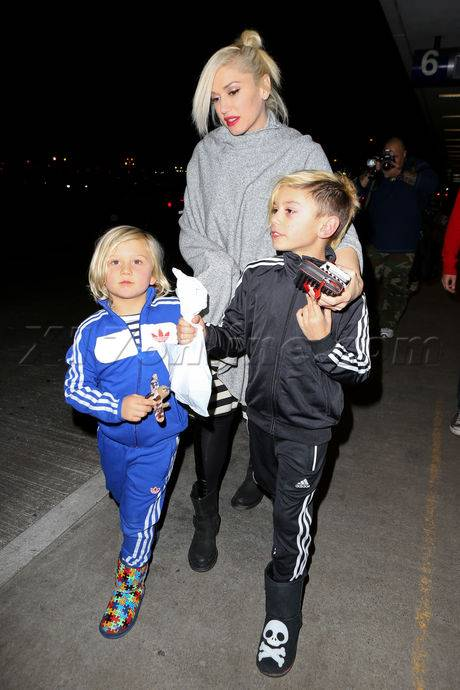 Gwen Stefani and her boys at LAX