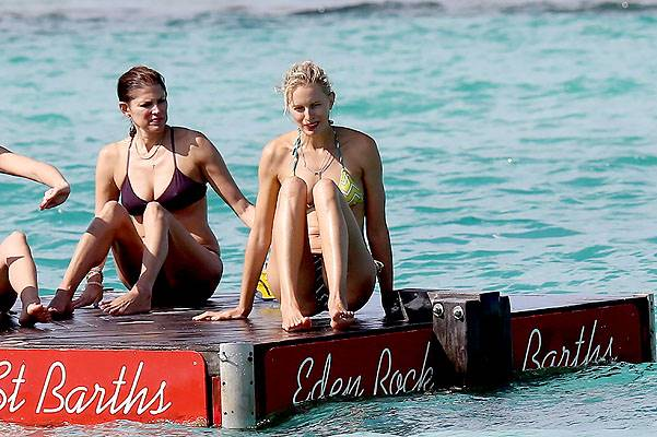 EXCLUSIVE: Karolina Kurkova is seen enjoying the sun in St Barts at the Eden Rock Hotel