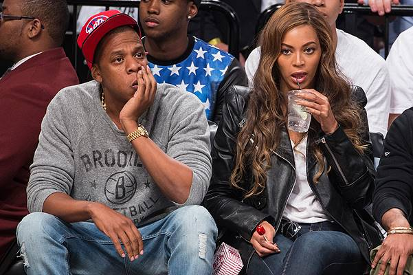 Jay-Z and Beyonce cheer on the Brooklyn Nets for game six of the NBA Playoffs