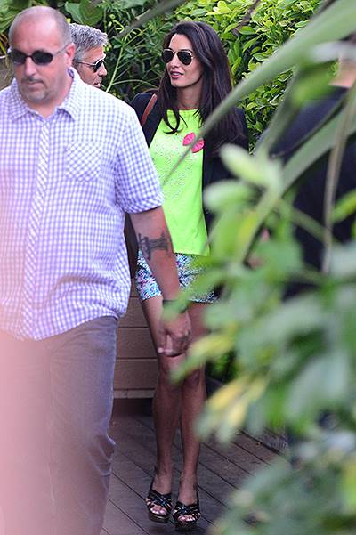 George Clooney and Amal Alamuddin leaving Cafe Habana Malibu for Bono's birthday