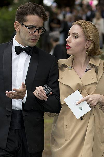 Scarlett Johansson and fiance Romain Dauriac attend the traditional English Wedding of Princess Florence Von Preussen and English Aristocrat James Tollemache