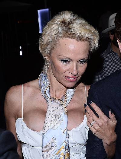Pamela Anderson leaves her party in Cannes, France