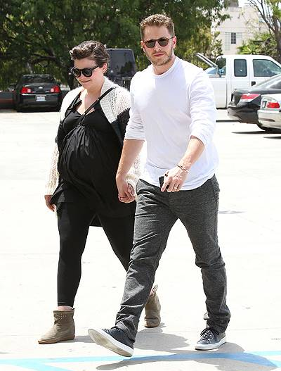 Pregnant, Ginnifer Goodwin holds hands with her husband Josh Dallas while heading to a Medical building in Santa Monica, CA on Monday 050514