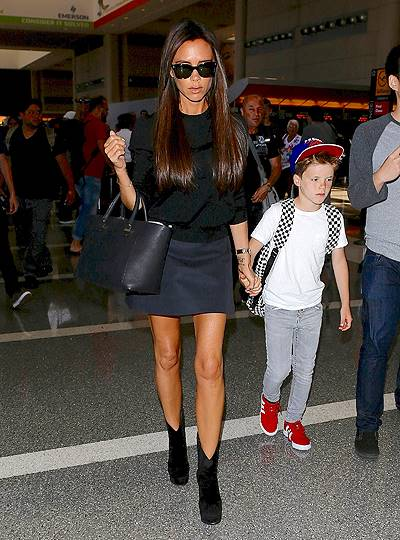 David and Victoria Beckham were seen leaving LA with the family