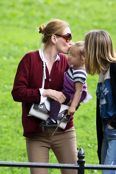 EXCLUSIVE: Uma Thurman brings kids Maya Thurman-Hawke, Levon Thurman-Hawke and baby Luna Busson to an outing in New York City