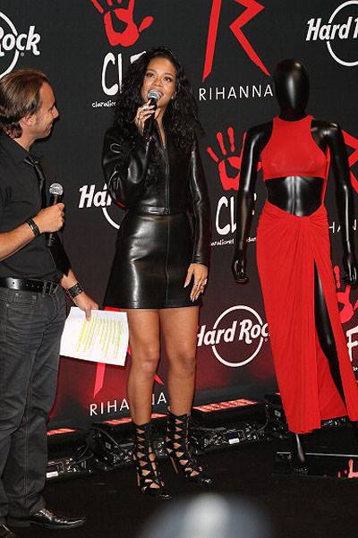 Singer Rihanna Launches 'The Clara Lionel Foundation' Tee Shirts At Hard Rock Cafe In Paris