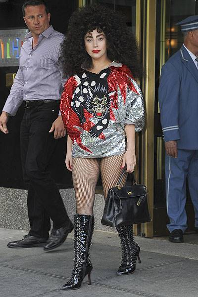 Lady Gaga leaving her hotel wearing a panther sequin dress in New York City