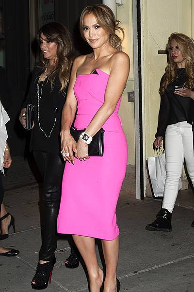 Jennifer Lopez has dinner with family and friends before heading to her album release party in NYC