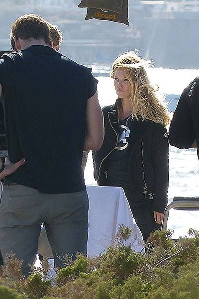 Top model Kate Moss finishes a photoshoot in Ibiza