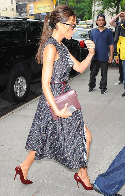 Victoria Beckham arriving at her hotel in New York