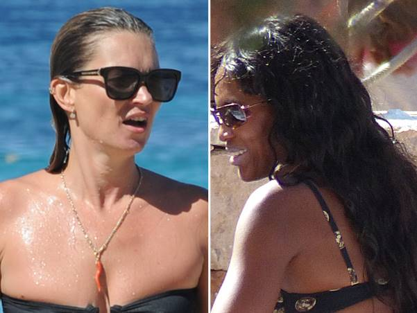 Kate Moss and Naomi Campbell enjoy Ibiza with some friends