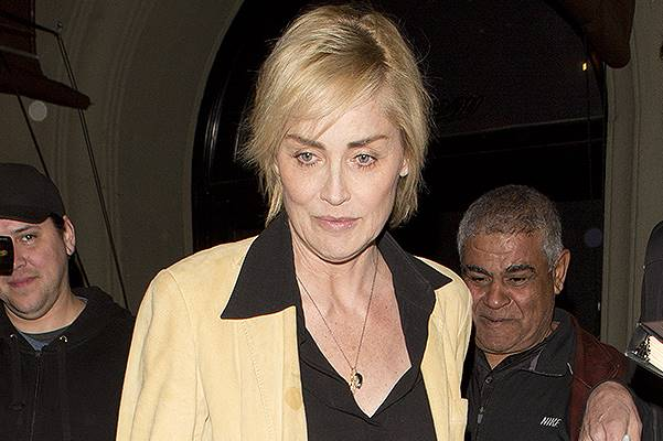 Sharon Stone in a black sheer shirt and leather pants as she was seen leaving Craig's Restaurant in West Hollywood, CA