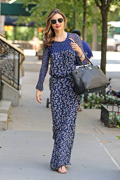 Miranda Kerr seen leaving her apartment building after she got a manicure and pedicure at her home in New York City