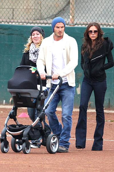 David and Victoria Beckham hanging with baby Harper