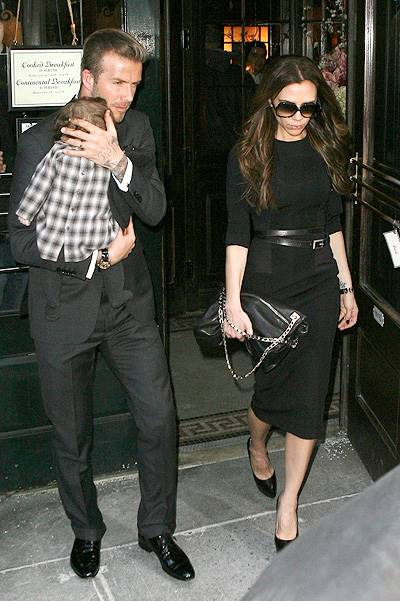 David Beckham and Victoria Beckham take Harper to Balthazar