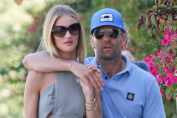EXCLUSIVE: Rosie Huntington-Whiteley and Jason Statham go for lunch in Malibu