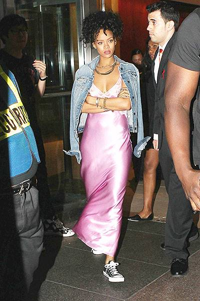 Rihanna wearing a nightgown on the streets on NYC