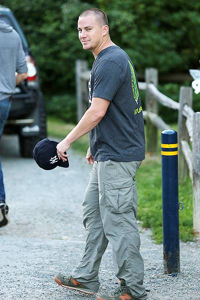 *EXCLUSIVE* Channing Tatum takes his dog and his newly shaved head for a hike **NO Canada**