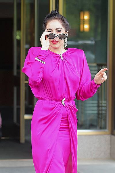 Lady Gaga spotted wearing a hot pink dress and sunglasses with matching sparkling pumps while she headed to rehearsal with Tony Bennett in New York City