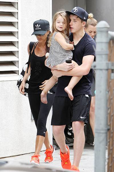 ***NO DAILY MAIL SALES*** David Beckham and his family seen leaving SoulCycle in Brentwood