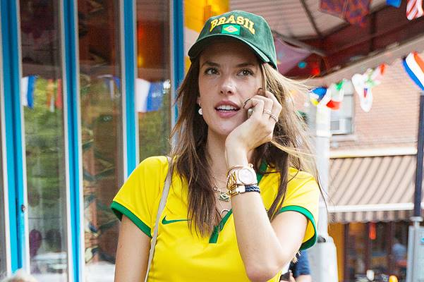 Alessandra Ambrosio leaves the bar after Brazil vs Germany game