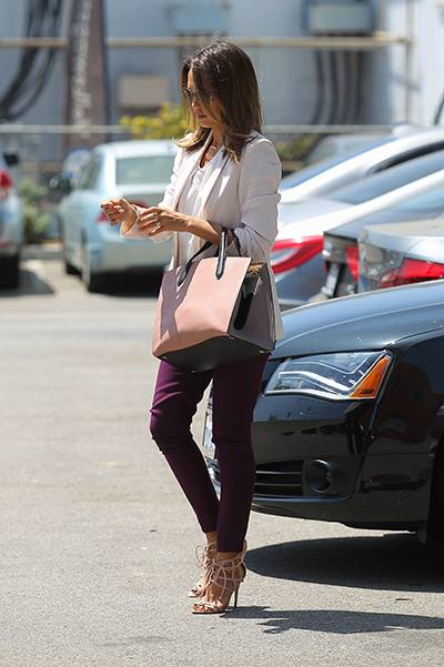 Jessica Alba, dressed in aviator sunglasses and a light pink blazer, attends a meeting in Beverly Hills Featuring: Jessica Alba Where: Beverly Hills, California, United States When: 09 Jul 2014 Credit: WENN.com