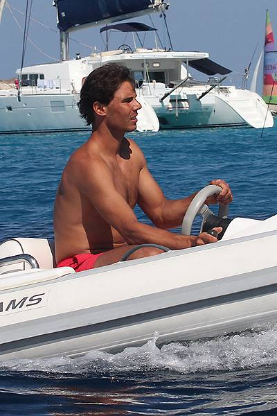 EXCLUSIVE: Rafael Nadal driving a little boat with his friends in Formentera