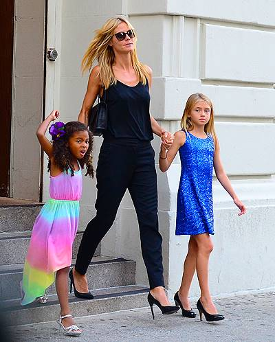 Heidi Klum and her daugters Lou Samuel and Leni Samuel both sport heels as they step out of Nobu restaurant with their supermodel mother in NYC