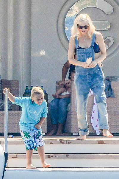 Gwen Stefani and Gavin Rossdale with their sons Kingston, Zuma Nesta Rock and Apollo Bowie Flynn on holiday in Saint-Tropez in France.