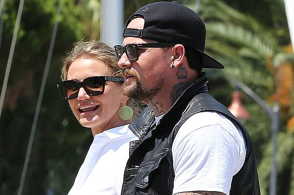 Cameron Diaz and Benji Madden spotted leaving their holiday yacht