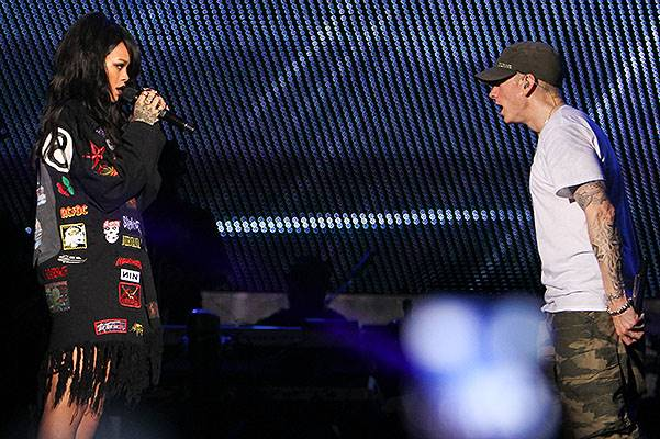 EXCLUSIVE: Eminem and Rihanna perform together on opening night of the Monster Tour at the Rose Bowl in Pasadena, CA