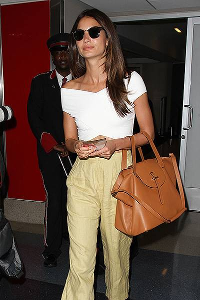 Lily Aldridge departs to NYC from LAX