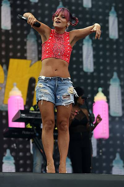 Lily Allen performs on the main stage at the V Festival at Weston Park in Staffs