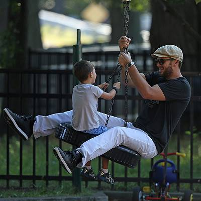 Tom Brady and Gisele Bundchen spending time with all their kids at the playground in Boston, MA