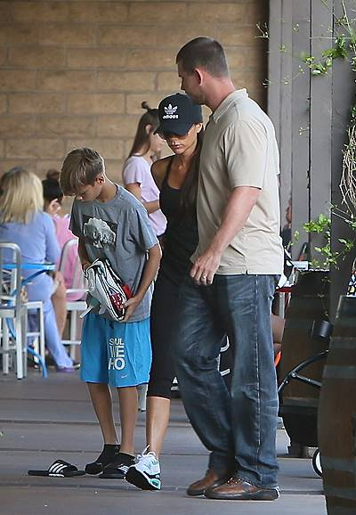 Victoria and David Beckham spotted at Soul Cycle with their kids, Brooklyn Beckham, Romeo Beckham, and Harper Beckham, as well as a bodyguard Featuring: Victoria Beckham,Romeo Beckahm Where: Los Angeles, California, United States When: 23 Aug 2014 Credit