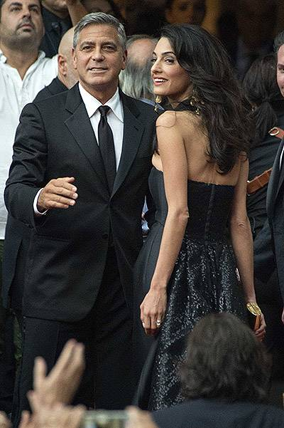 Celebrity Fight Night benefiting The Andrea Bocelli Foundation and The Muhammad Ali Parkinson Center - Arrivals Featuring: George Clooney,Amal Alamuddin Where: Florence, Italy When: 07 Sep 2014 Credit: SHOTPRESS/WENN.com **Not available for publication