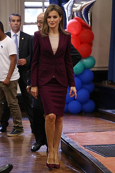 Queen Letizia Of Spain Visits The International Spanish Academies In New York City