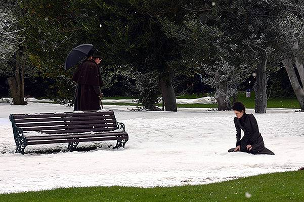 Filming scenes on the set of 'Penny Dreadful' on location in Iveagh Gardens where a winter wonderland was created with fake snow and blue-screen backgrounds Featuring: Eva Green Where: Dublin, Ireland When: 23 Sep 2014 Credit: WENN.com